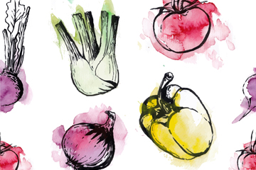 创意蔬菜无缝背景矢量素材