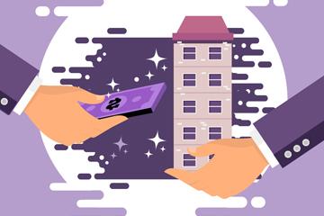 创意房屋交易的手臂插画矢量素材
