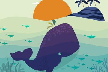 创意大海里的鲸鱼矢量素材