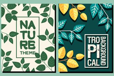 2款创意树叶装饰自然主题背景矢量素材