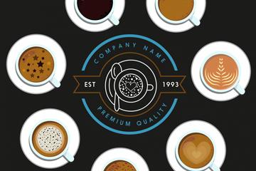 7款美味咖啡俯��D矢量素材