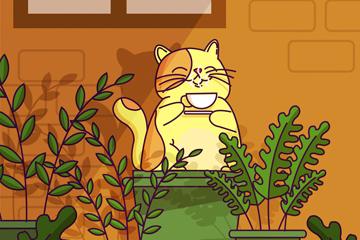 创意窗户下喝咖啡的猫咪矢量图