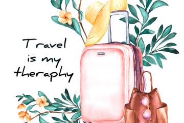 彩绘花枝和旅行箱设计矢量素材
