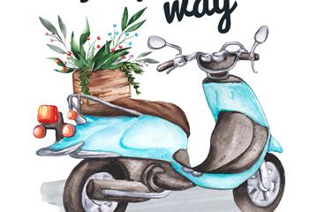彩绘蓝色摩托车和花篮矢量素材