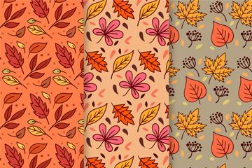 3款彩色秋季树叶无缝背景矢量素材
