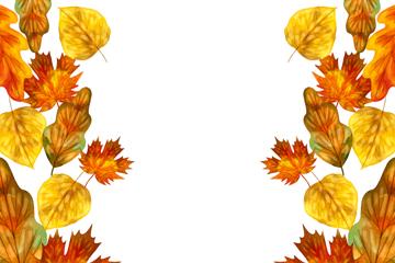 美丽秋季树叶框架矢量素材