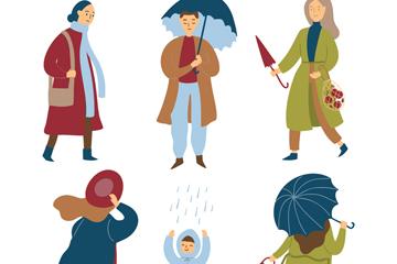 6款创意雨中的人物矢量素材