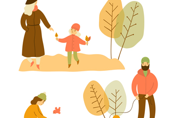 3组创意秋季人物矢量素材