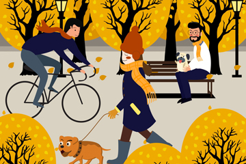 创意秋季户外运动人物矢量图