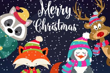 卡通圣诞节雪中动物矢量素材