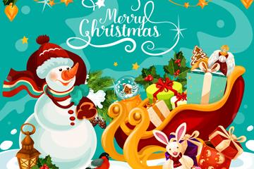 卡通圣诞节雪橇车和雪人矢量图