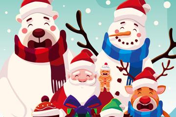 卡通圣诞节笑脸角色矢量素材