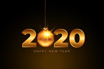 金色2020年新年吊球矢量素材