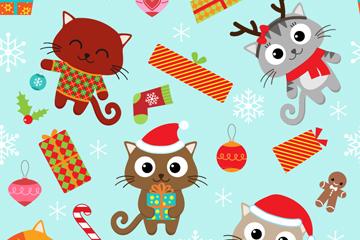 卡通圣诞猫咪无缝背景矢量素材