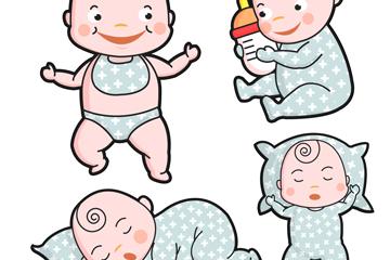 4款卡通婴儿矢量素材