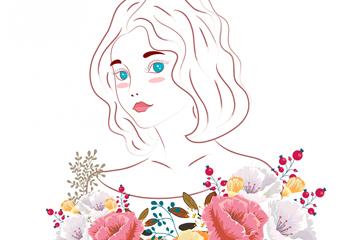 美丽花卉和女子矢量素材