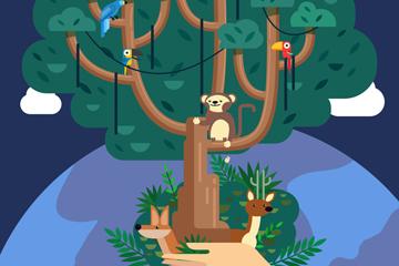 创意双手托举的树木矢量素材