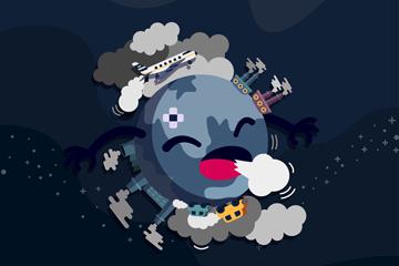 卡通被污染咳嗽的地球矢量素材