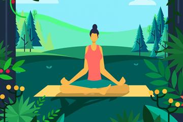 ��意郊外�瑜伽的女子矢量素材