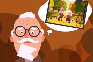 创意拿照片怀念老伴的老人矢量图