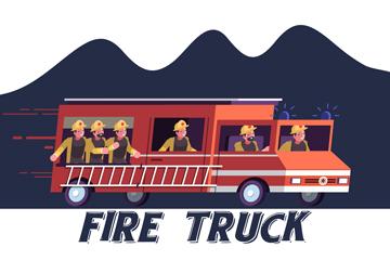 创意飞驰的消防车矢量素材
