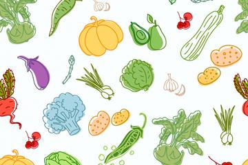 彩绘蔬菜水果无缝背景矢量素材