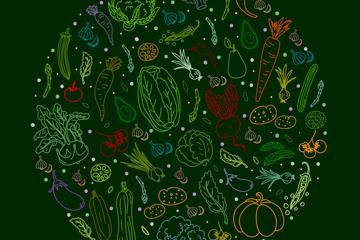 彩色蔬菜�M合�A形矢量素材