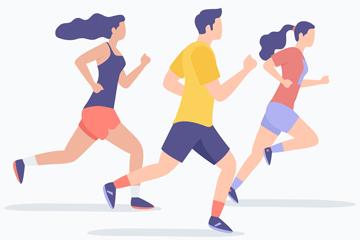 ��意跑步健身男女矢量素材