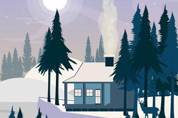 ��意冬季郊外木屋�L景矢量素材