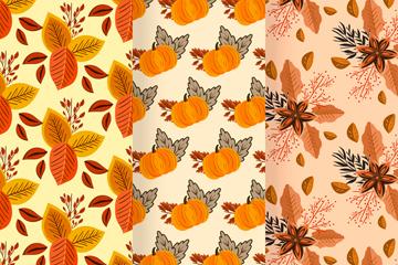 3款彩色秋季元素无缝背景矢量图