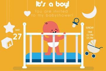 创意婴儿迎婴海报矢量素材