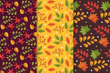 3款彩色秋季叶子无缝背景矢量素材
