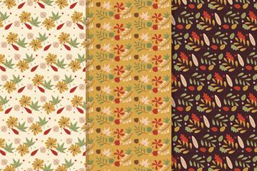 3款复古秋季树叶无缝背景矢量图