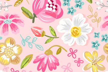 彩绘大花朵无缝背景矢量素材