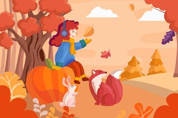可爱秋季女孩和动物矢量图