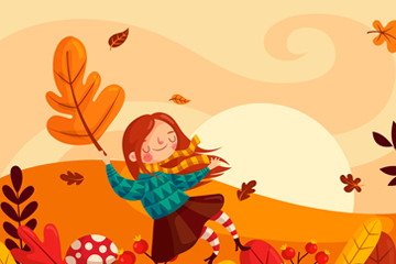 创意秋季郊外女子矢量素材