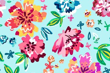 彩色抽象花朵无缝背景矢量素材