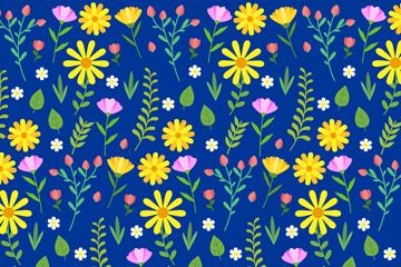 深蓝底黄花无缝背景矢量素材