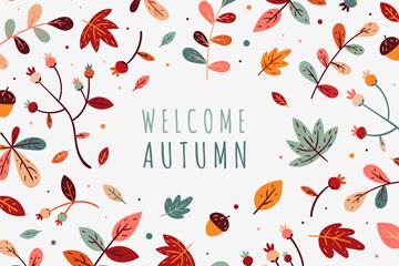 彩色清新秋季树叶矢量素材
