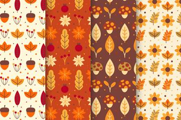 4款��意秋季�淙~蘑菇橡子�o�p背景矢量�D