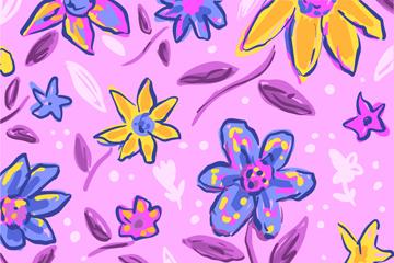 彩色手�L花卉�o�p背景矢量�D