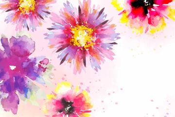 水彩�L花朵�O�矢量素材