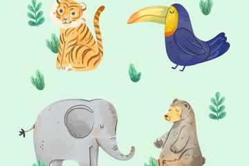 4款水彩绘动物设计矢量素材