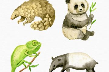 4款水彩绘野生动物矢量素材