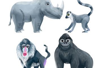 4款创意灰色动物矢量素材