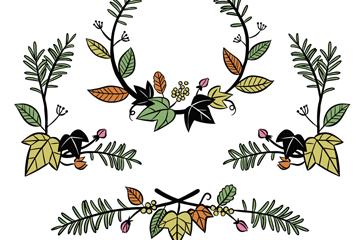 4款创意树枝花边矢量素材