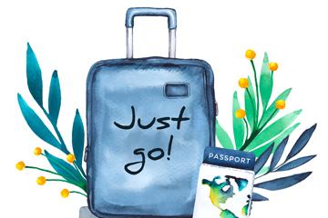 水彩绘行李箱和树叶矢量素材
