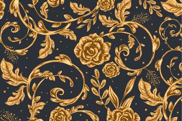 金色玫瑰花背景矢量素材
