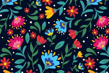 彩色抽象花卉无缝背景矢量图