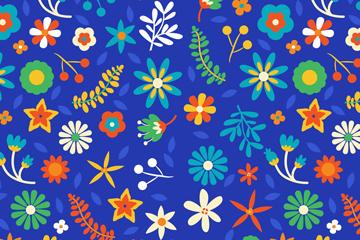 蓝色底花卉无缝背景矢量素材